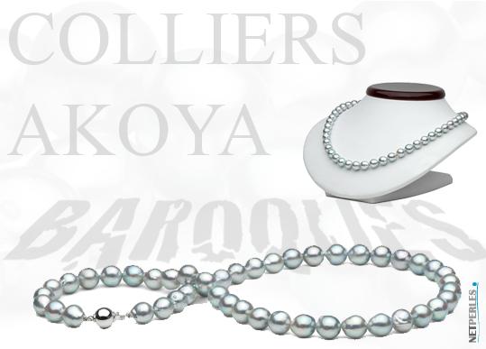 colliers baroques akoya - colliers baroques - perles du japon - vraies perles - perles de culture - bijoux de perles - perles bleues