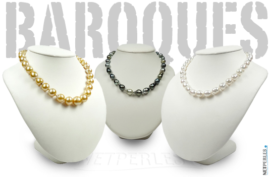 """Colliers de perles de culture de forme """" baroques """""""