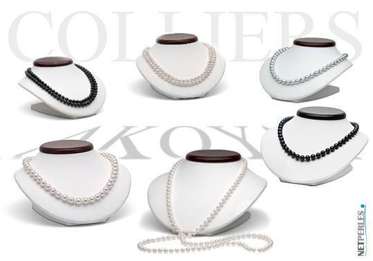 colliers de perles d'akoya - perles du japon - perles blanches - perles noires - bijoux de perles