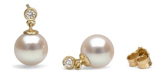 Boucles d'oreilles Diamantis avec perles de culture d'Akoya