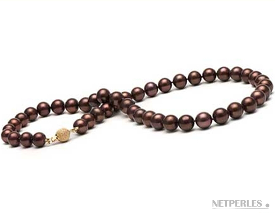 Collier de perles de culture d'Eau Douce Chocolat qualité AAA 45 cm diamètre 9,0 mm