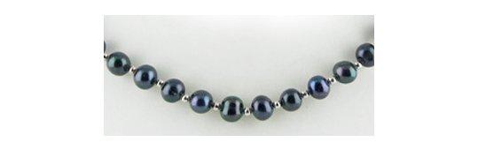 Perles d'eau douce noires et billes en or gris