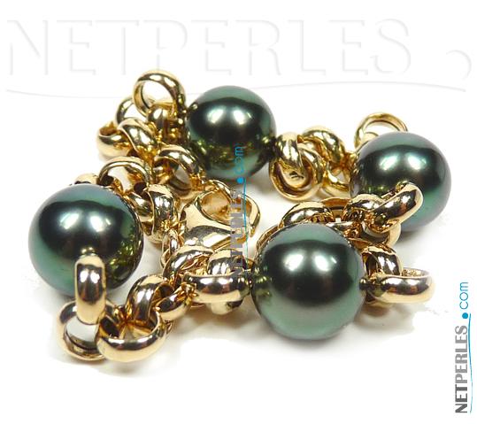 Bracelet de perles de culture de Tahiti montées sur Maille Or 18 carats Jaseron