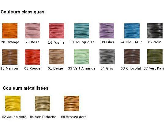 Cordon cuir palette de couleurs