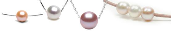 Perle d'eau douce montée sur câble traversant, chaîne ou cordon de cuir