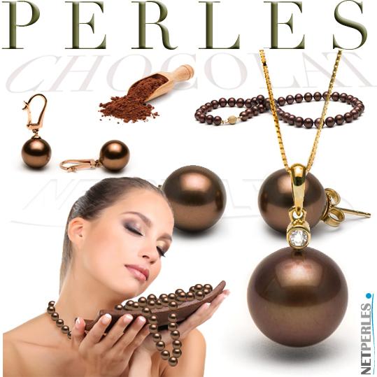 Perle chocolat - perle de tahiti chocolat - perles d'eau douce chocolat - perles de culture