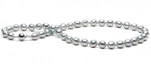 Collier de perles de culture d'Akoya bleues