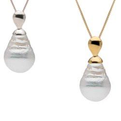 Pendentif Or et perle d'Australie baroque à partir de 9 à 10 mm