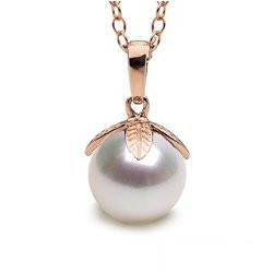 Pendentif Or Rose 14 carats Perle d'Eau Douce de 9 à 10 mm AAA