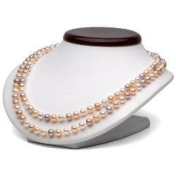 Collier Double Rang de perles d'eau douce 7 à 8 mm DOUCEHADAMA Multicolores 43/45 cm