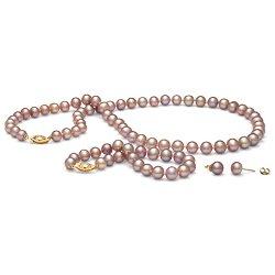 Parure de Perles d'Eau Douce 7 à 8 mm Lavande 3 Bijoux Collier Bracelet boucles