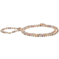 Long collier de perles d'Eau Douce multicolores 6-7 mm, 130 cm