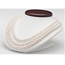 Collier trois rangs 41/43/45 cm perles d'eau douce Blanches 8 à 9 mm