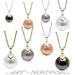 Pendentif Argent 925 et diamant avec Perle d'Eau Douce 10-11 mm AAA