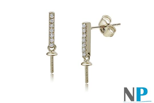 Apprets e Argent 925  et zirconiums pour boucles d'oreilles de perles