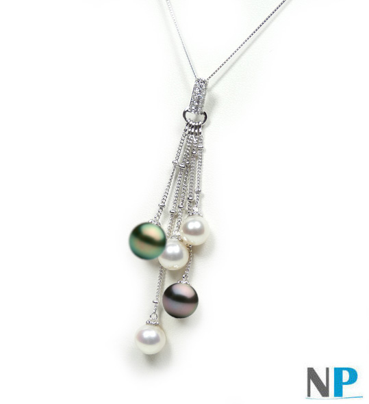 Pendentif Or 14k avec 3 perles Akoya et 2 perles de Tahiti qualité AAA et diamants