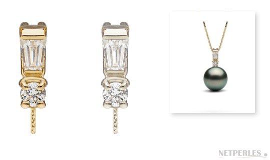 Pendentif Adore en or 14 carats et diamants pour perle de culture