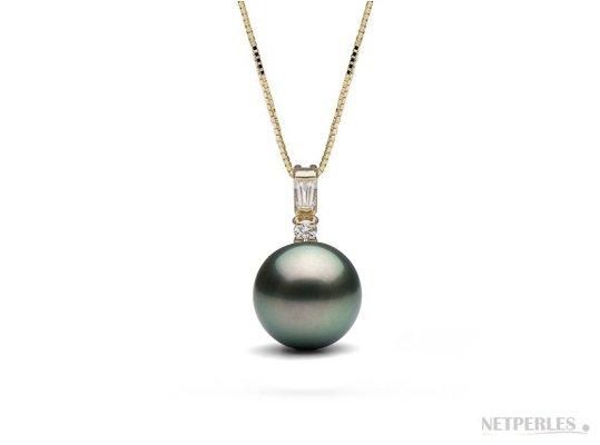 Pendentif Or et diamants, perle de culture noire de Tahiti