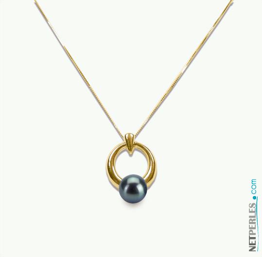 pendentif en or jaune 14 carats et vraie perle de culture d'eau douce noire de qualite AAA
