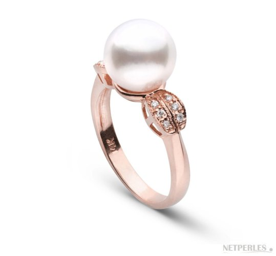 Bague en or rose diamants et perle d'Akoya 9-9.5  mm AAA