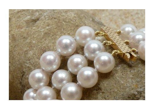 Perles d'Akoya en triple rang