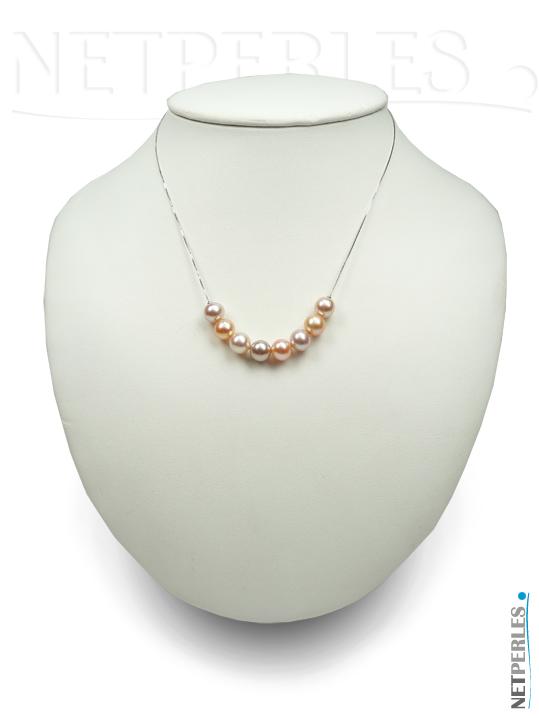 pendentif avec 8 perles de culture d'eau douce multicolores