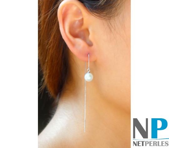 Boucles d'oreilles : Chaines et perles d'eau douce blanches Argent 925 qualité DOUCEHADAMA
