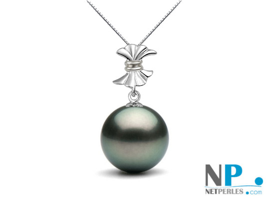 Pendentif Or gris 18k avec une perle de culture de Tahiti qualité AAA