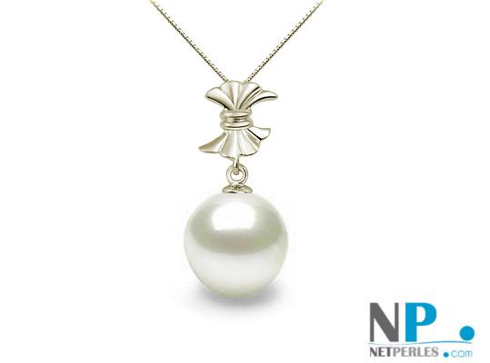 Pendentif Or Gris 18k avec perle d'Akoya blanche