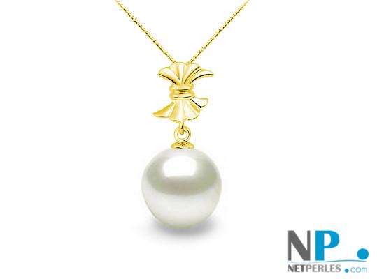 Pendentif Or Jaune 18k avec perle d'Akoya blanche