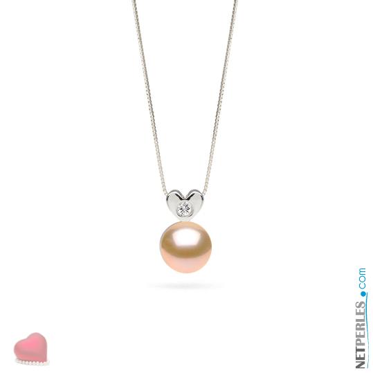 Pendentif Or gris et diamant avec  perle d'eau douce pêche