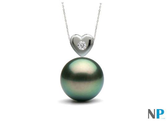 Pendentif coeur en Argent Massif et Diamant VS1 et perle noire de tahiti