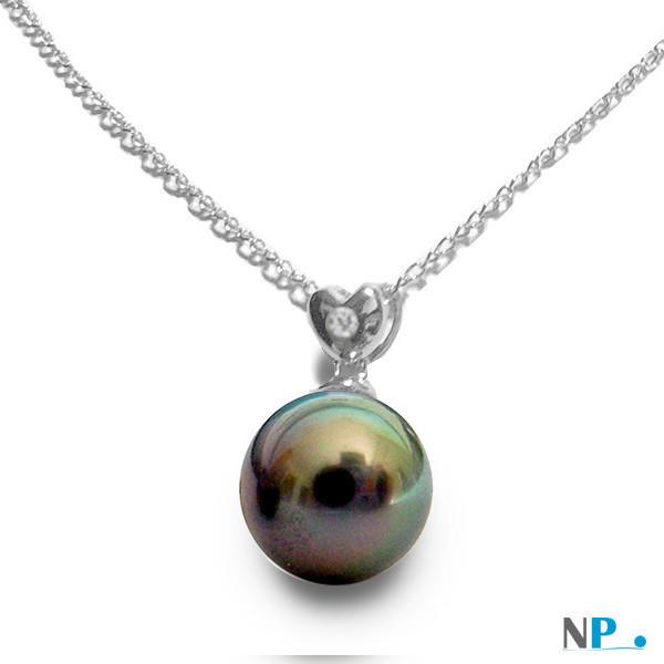 Pendentif Coeur en argent avec diamant et  perle de Tahiti 10-11 mm