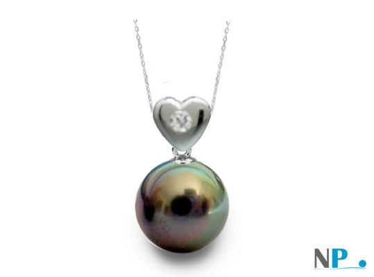 Pendentif coeur en Argent Massif et Diamant avec  perle noire de tahiti