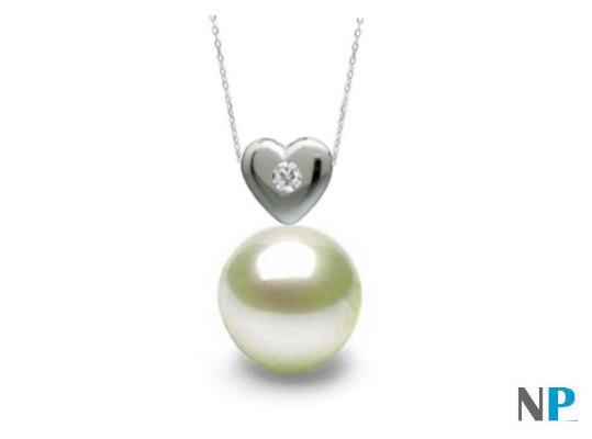 Pendentif en Or 14 carats avec diamant VS1 et perle blanche d'eau douce AAA