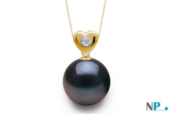 Pendentif coeur en or jaune avec diamant et  perle noire d'eau douce