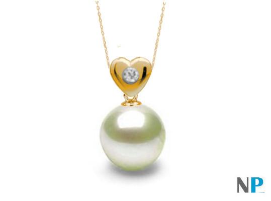 Pendentif en Or jaune avec diamant et perle blanche d'eau douce