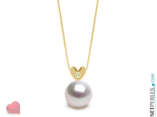 Pendentif Or jaune et diamant en forme de coeur avec perle blanche argentée d'australie qualité AAA