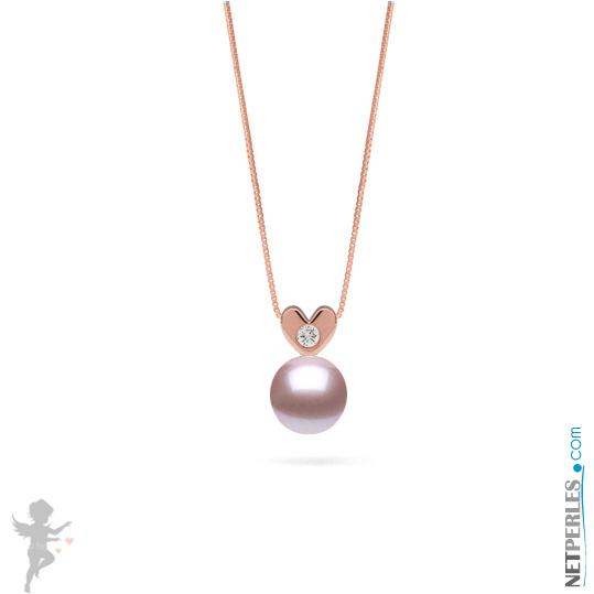 Pendentif Or rose et diamant avec  perle d'eau douce lavande