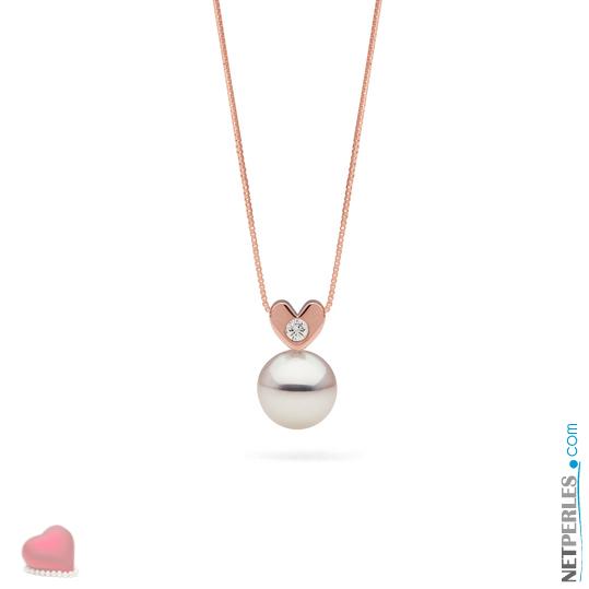 Pendentif coeur en Or Rose 14 carats et diamant, avec sa perle blanche Akoya qualité AAA