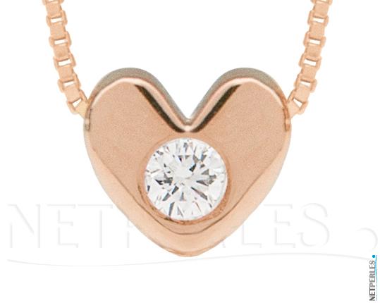 Pendentif Or Rose 14 carats  et diamant VS1