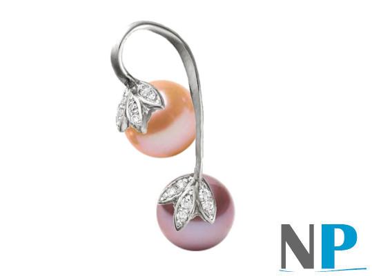 Pendentif en Or Gris 14k avec une perle lavande et une perle  pêche