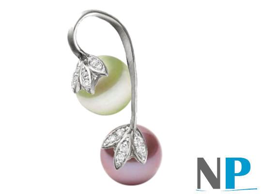 Pendentif en Or Gris 14k avec une perle blanche et une lavande