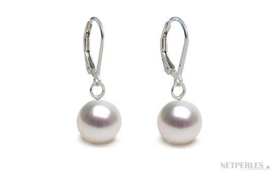 Boucles d'oreilles en argent avec perles blanches d'Australie