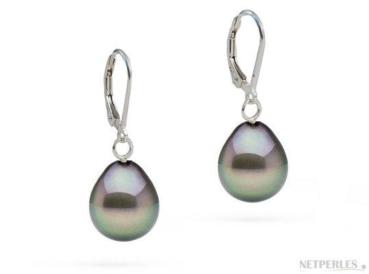 Boucles d'oreilles Argent 925 et Perles de Tahiti Gouttes AAA