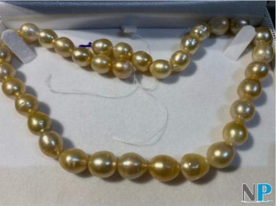Gros plan sur perles dorees d'autralie, perles baroques