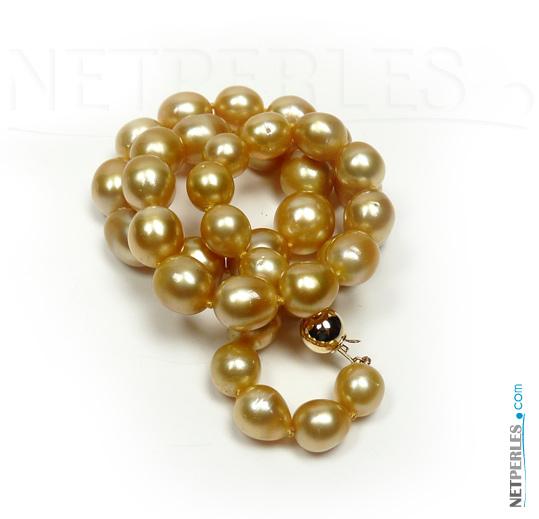 Collier de perles dorees des mers du sud, bijou de luxe, collier exceptionnel