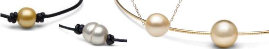 Perles d'Australie Blanches argentée et dorées sur câbles, chaines ou cordons de cuir
