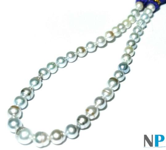 Collier Perles baroques d'Australie blanches aux reflets argentés