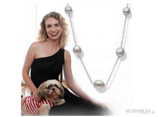 Collier de perles d'Australie blanche argentées baroques